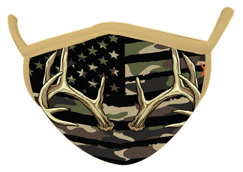 Camo Green Antler Wild Smiles Face Mask