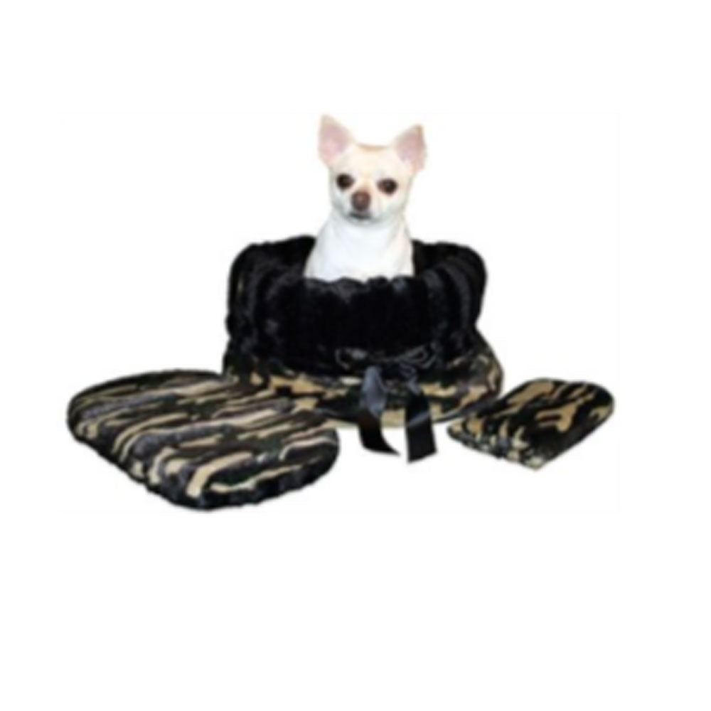 Camo Reversible Snuggle Bugs Pet Bed, Bag, and Car Seat in One