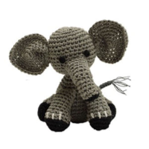 Knit Knacks Bubbles the Baby Elephant Organic Cotton Small Dog Toy