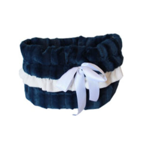 Navy Blue Reversible Snuggle Bugs Pet Bed, Bag, and Car Seat All-in-One