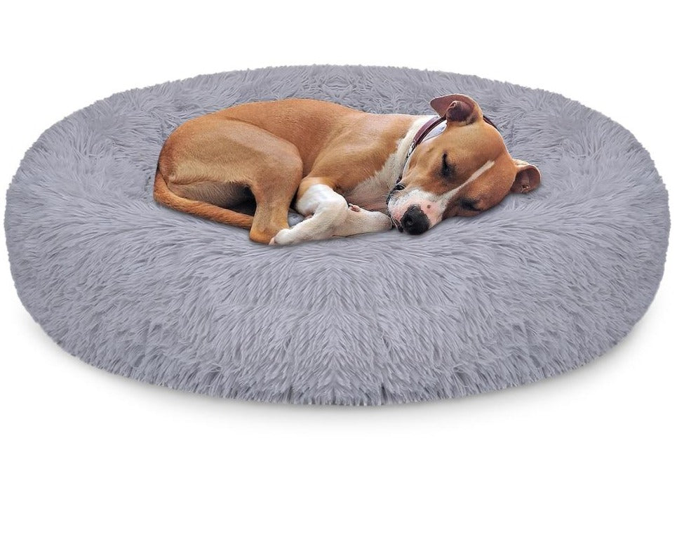 DEKO Pet Dog & Cat Bed Super Soft Kennel Round Fluffy Cat House Warm Comfortable Sleeping Cushion Mat Sofa Washable Puppy Plush