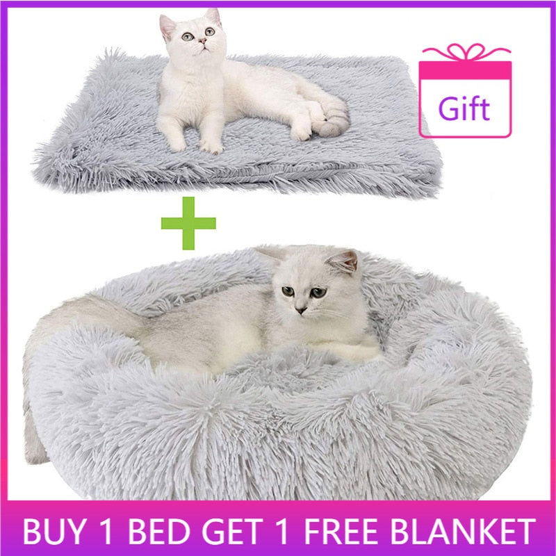 Willstar Round Cat Bed with Free Blanket Soft Long Plush Pet Dog Basket Cushion Cats Mat House Animals Sofa Pets Product