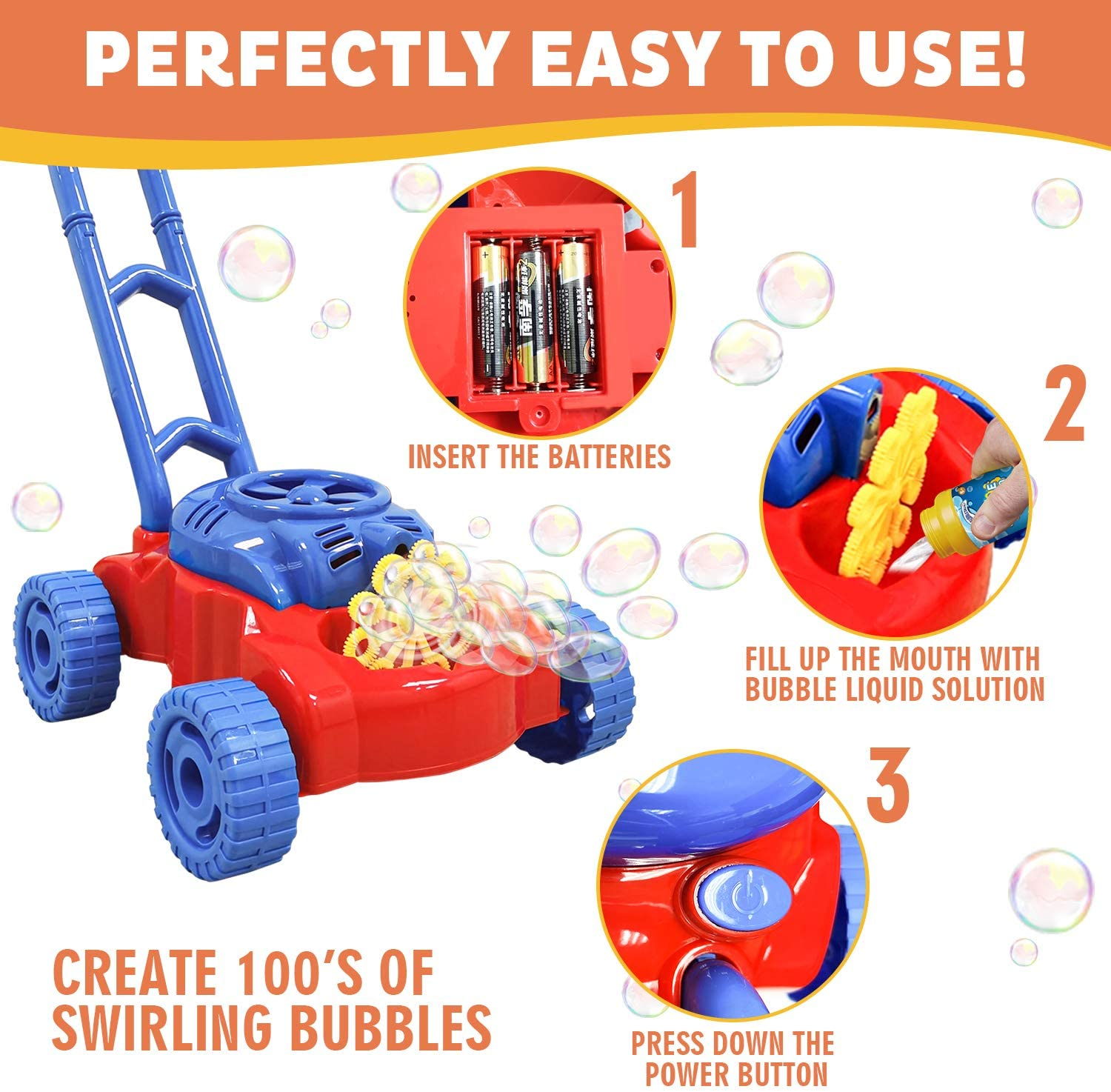 WhizBuilders Bubble Machine Lawn Mower