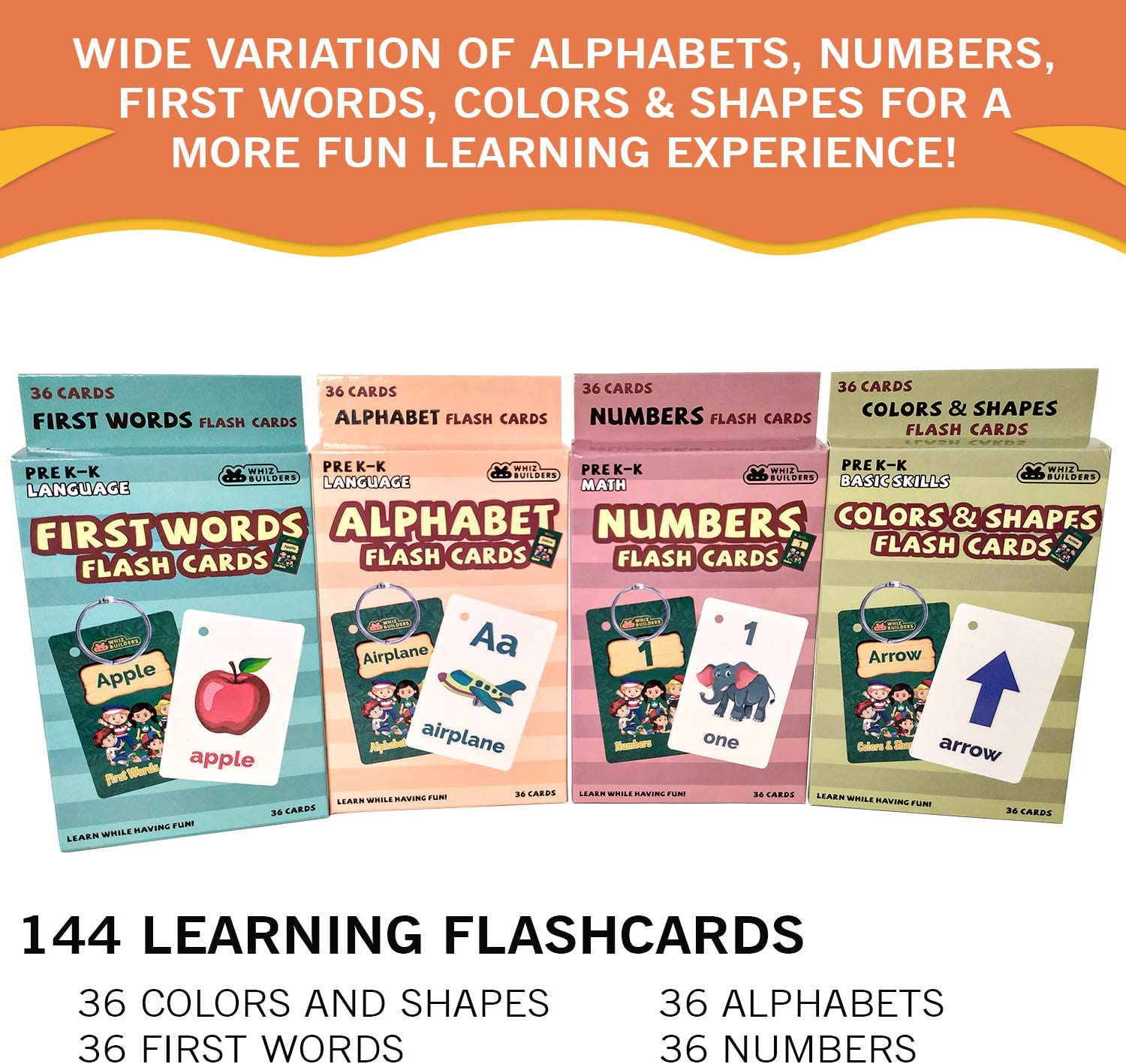 WhizBuilders Flash Cards – Alphabet ABC Letter Numbers Math Shapes