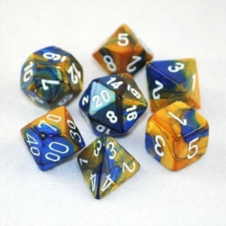 Poly 7 Die Set - Gemini - Blue Gold/White