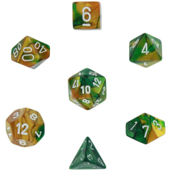 Poly 7 Die Set - Gemini - Gold Green/White