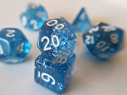 7 Die-Set: Glitter Light Blue Dice