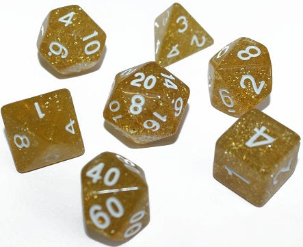 7 Die-Set: Glitter Gold Dice