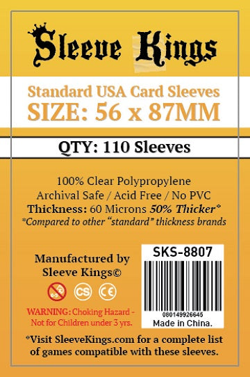 SleeveKings Standard USA Sleeves 56mm x 87mm (110 count)