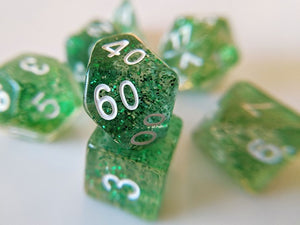 7 Die-Set: Glitter Green Dice
