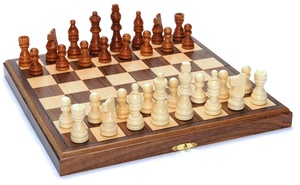 "Chess Set, Folding Wood 11.5"" Walnut"