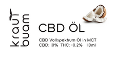 Laden Sie das Bild in den Galerie-Viewer, CBD ÖL 10% (1000mg) in Kokosextrakt (MCT)