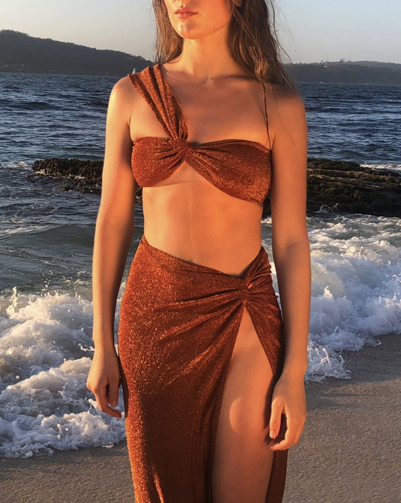 Summer '21 Pre-Order - Petra Bikini Top in Bronze Shimmer