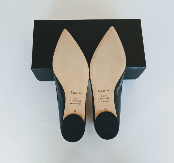 Repetto Brigitte Black Patent Pointy Toe Ballerina Flats