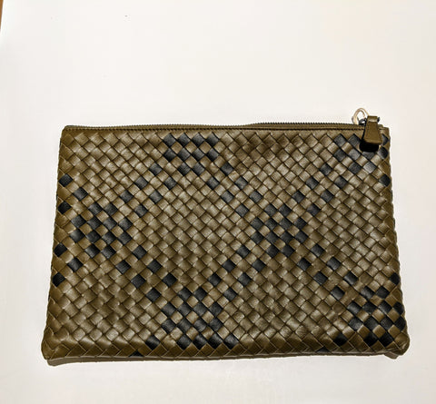 Bottega Veneta Woven Leather Pouch Clutch in Plaid Khaki Green and Gray