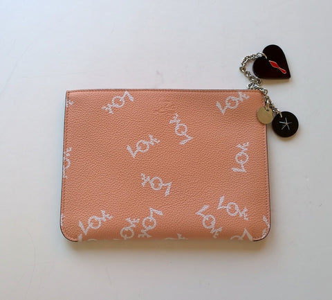 Christian Louboutin Loubicute Love Peach Leather Pouch with Charms