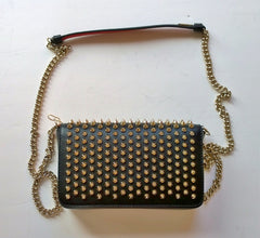 Christian Louboutin Zoomi Black Leather Gold Studs Chain Bag