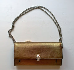 Alexander McQueen Skull Chain Wallet in Bronze with Silver Tone Chain Clutch Purse