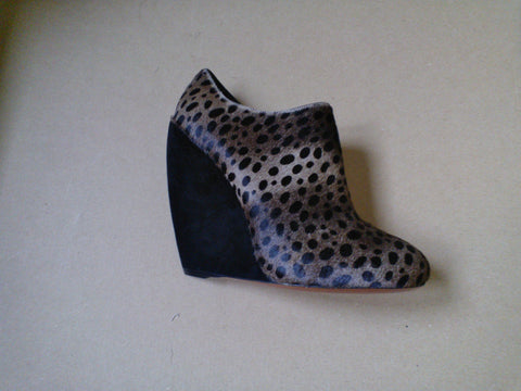 Alaia Pony Hair Leopard Wedge Ankle Boot Heels