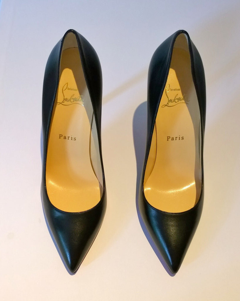442a00de12a ... Christian Louboutin Pigalle 100 Black Leather Heels Sale New Shoes ...