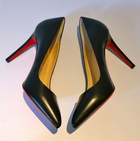 Christian Louboutin Pigalle 100 Black Leather Heels Sale New Shoes