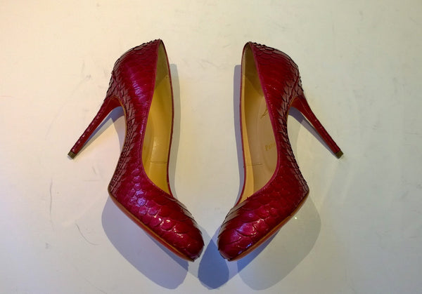 Christian Louboutin Fifi 100 Crystal Lamé Dark Pink Heels Shoes Sale Pumps Discount