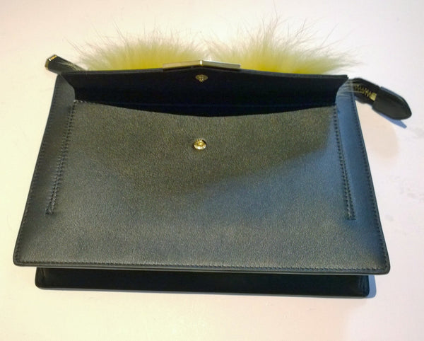 Fendi Monster Black Leather Clutch Crossbody Bag Fur Eyes Handbag