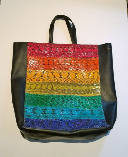Celine Rainbow Watersnake Sale Shopper Discount Tote Bag Black Leather