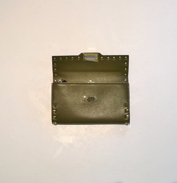 Valentino Moss Taupe Rockstud Clutch Wallet Discount Purse