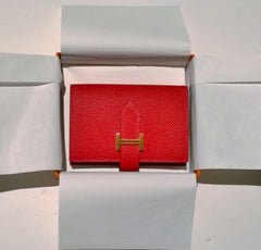 Hermes Bearn Mini Wallet in Casaque Red Epsom Calfskin