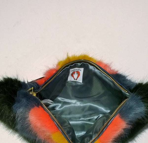 Shrimps Faux Fur Rainbow Clutch Vegan Bag