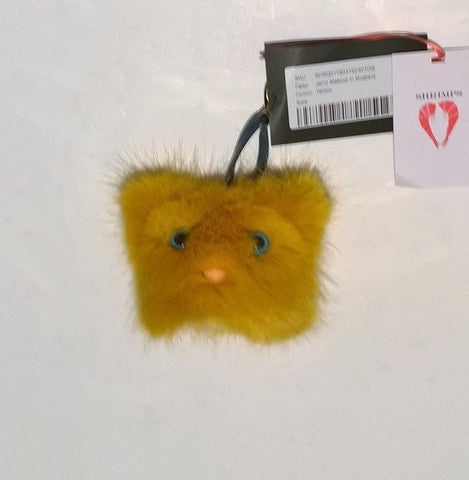 Shrimps Jerry Mustard Yellow Faux Fur Key Chain Bag Charm Discount Accessories