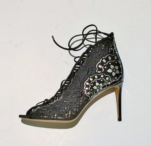 Nicholas Kirkwood Lace Up Suede Patent and Metallic Leather Heels New Discount Shoes