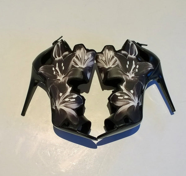 Pierre Hardy Black and White Laser Cut Lily Sale Heels Discount Shoes