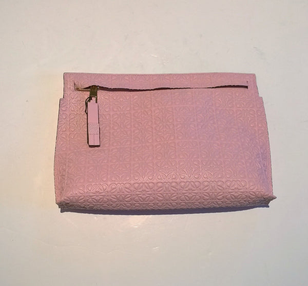 Loewe T Pouch Large in Engraved Leather Clutch Bag Soft Pink Sale