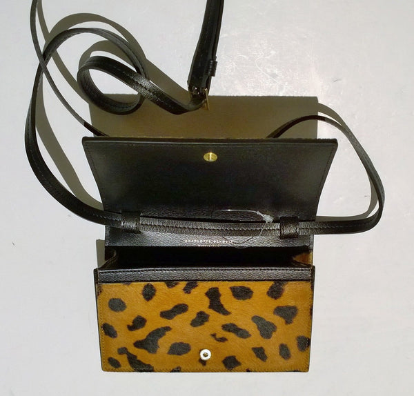 Charlotte Olympia Kitty Ponyskin Calf Hair Crossbody Purse Clutch Bag