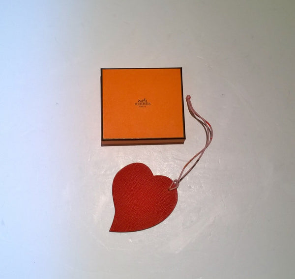 Petit H Leather Heart Charm with Silk Cord Hermes Bag Charm Large