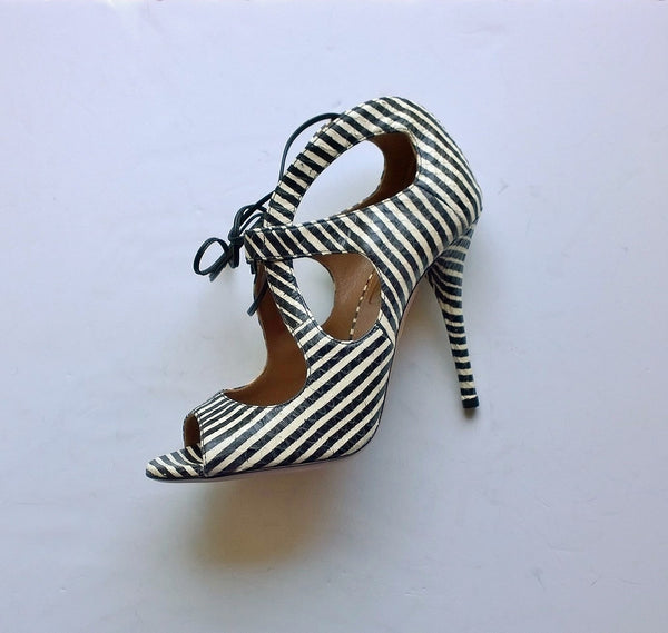 Aquazzura C'est Chic 105 Printed Elaphe Sandals in Black and White Heels