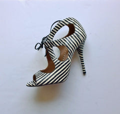 b3a23942f11f5a Aquazzura C'est Chic 105 Printed Elaphe Sandals in Black and White Heels