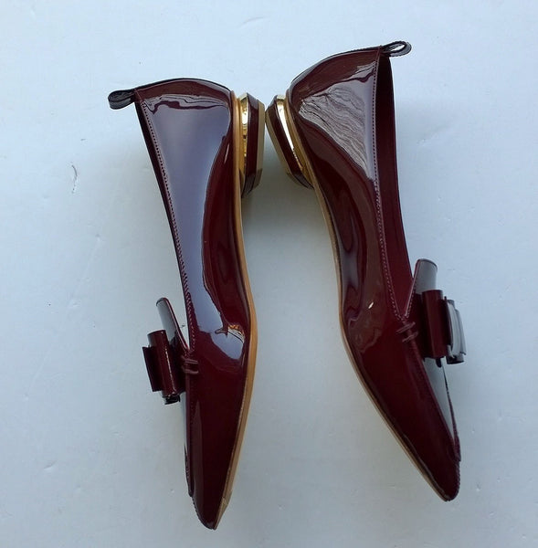 Nicholas Kirkwood Beya Bow Pumps in Burgundy Patent Sale Shoes