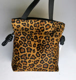 Loewe Flamenco Knot Small Bag in Calf Leopard and Black