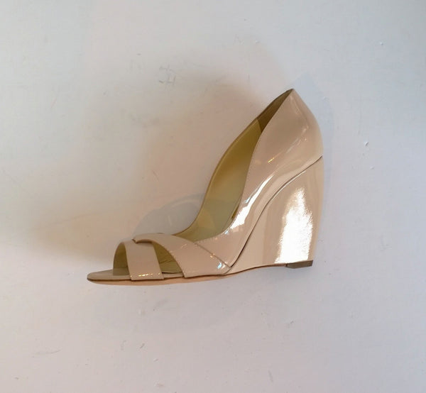 Rupert Sanderson Nude Patent Wedge Peggy Vernice Rose