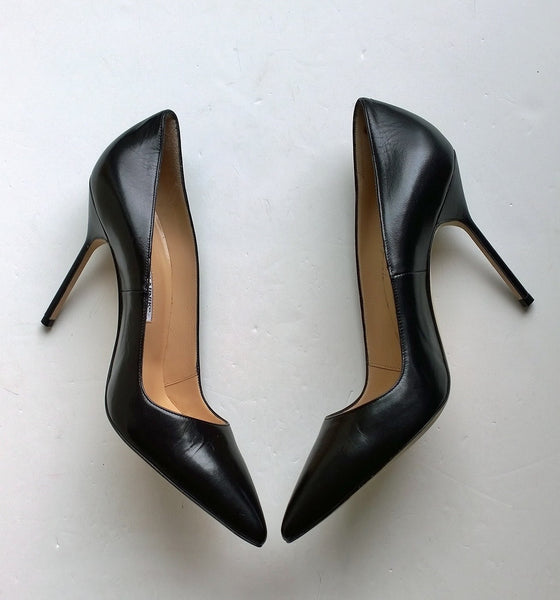 Manolo Blahnik Black Leather BB Heels 105