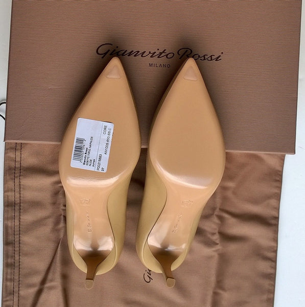 Gianvito Rossi Beige Nude Leather 70 Heels