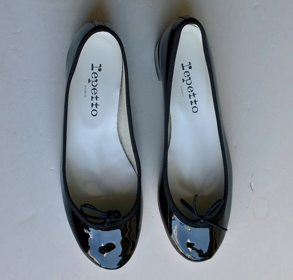 Repetto Black Patent Camille Block Heel Ballet Shoes