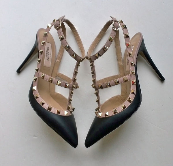 Valentino Garavani Black Leather High Heels Rockstud shoes
