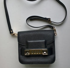 Proenza Schouler PS 11 Tiny Bag in Black Linosa Leather