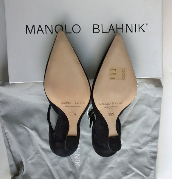 Manolo Blahnik Chiflada Black Suede Mary Jane 105 Wedge Heels
