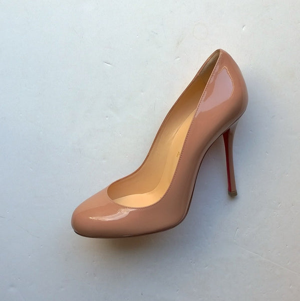 Christian Louboutin Warm Nude Patent Fifetish 100 Heels