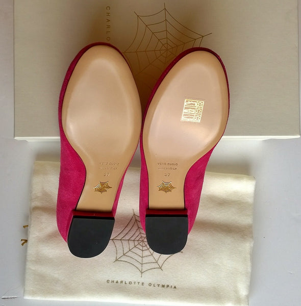 Charlotte Olympia Bright Pink Suede kitty flats sale shoes